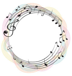 music notes on round frame vector image