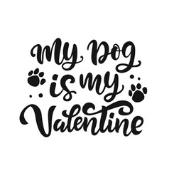 my dog is my valentine hand lettered quote vector image