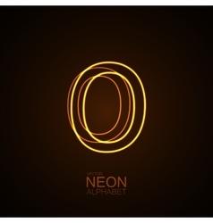 Neon 3D letter O vector