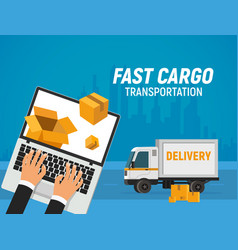 online delivery service fast transportation of vector image