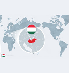 Pacific centered world map with magnified hungary vector