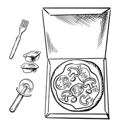 Pizza box sauce cups fork and cutter sketch vector