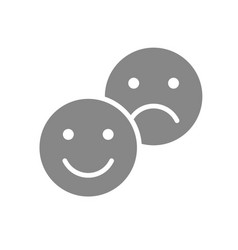 Positive and negative emoji gray icon level vector
