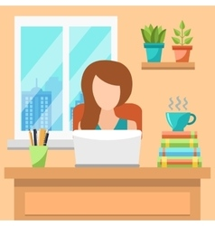 Pretty Young Woman Working At Office Concept vector