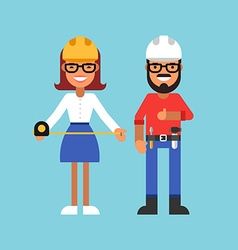 Profession Concept Builder Male and Female Cartoon vector image