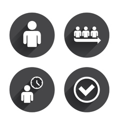 Queue icon Person waiting sign Check and time vector image