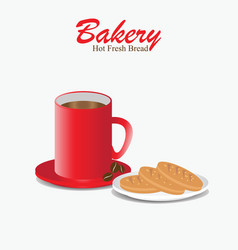 Red coffee cup with bakery bread vector