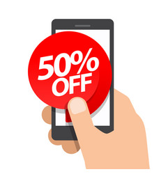 right hand holds smartphone fifty percent vector image