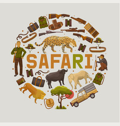 safari hunting set round patterns vector image