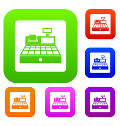 sale cash register set color collection vector image