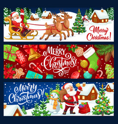 santa snowman with christmas tree gift reindeer vector image