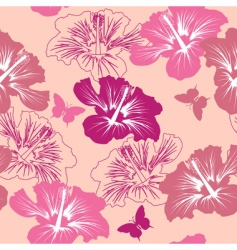 seamless pattern with tropical flower vector image