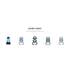 Secret agent icon in different style two colored vector
