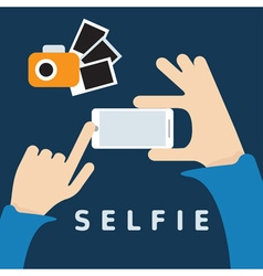 selfie trendy with smartphone and hands flat vector image