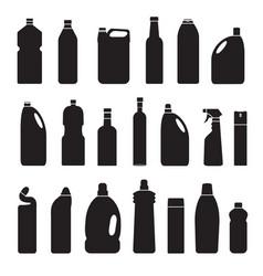 set black silhouette bottles cans vector image
