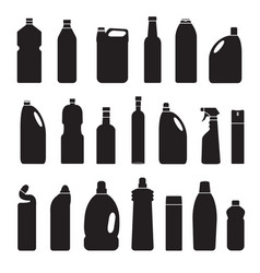 set of black silhouette bottles cans vector image