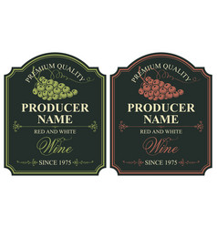 Set of labels for wine with bunch of grapes vector