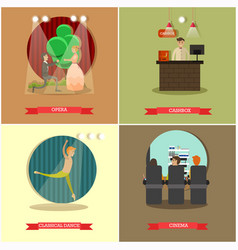 Set of performing arts concept posters in vector