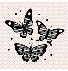 Set of vintage lace butterflies for design vector