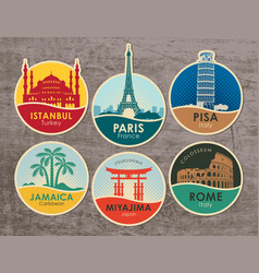 set stickers with sights various countries vector image