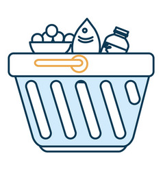 Shopping basket with groceries vector