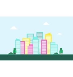 Silhouette of town city skyline landscape vector