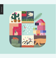 Simple things - home composition on mint vector
