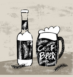 sketch craft beer concept vector image