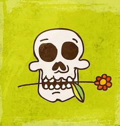 Skull with Flower Cartoon vector