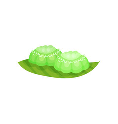 Small green colored cakes putu ayu traditional vector