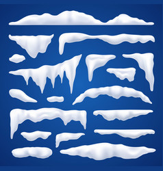 Snow capes and piles winter set vector