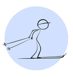 stick skier icon vector image