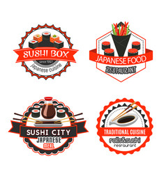 sushi japanese food isolated badge set design vector image