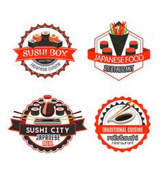 Sushi japanese food isolated badge set design vector