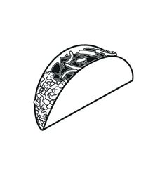 Taco simple black icon on white background vector image