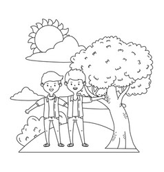 teenage friends in park design vector image