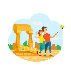 tourists in rome taking selfie at ancient ruins vector image