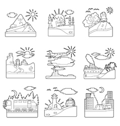 Travel concepts set outline style vector