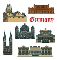 travel guide thin line icon german attractions vector image