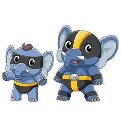 two elephant in a superhero costume vector image