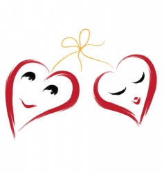 two smiling hearts vector image vector image