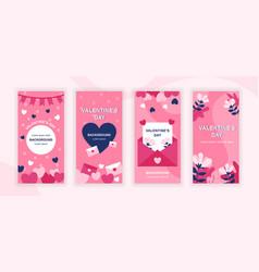 valentines day social media stories design vector image