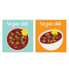 vegan chili bowl vector image