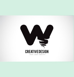 W letter logo design brush paint stroke artistic vector