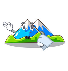 Waiter mountain scenery isolated from the mascot vector
