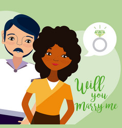 will you marry me card vector image