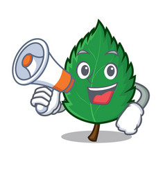 with megaphone mint leaves character cartoon vector image