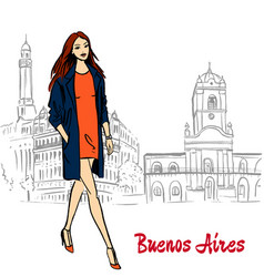 Woman in buenos aires vector