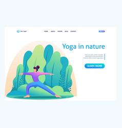 yoga girl surrounded plants outdoors flat 2d vector image