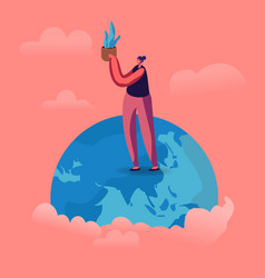 young woman stand on earth globe holding potted vector image